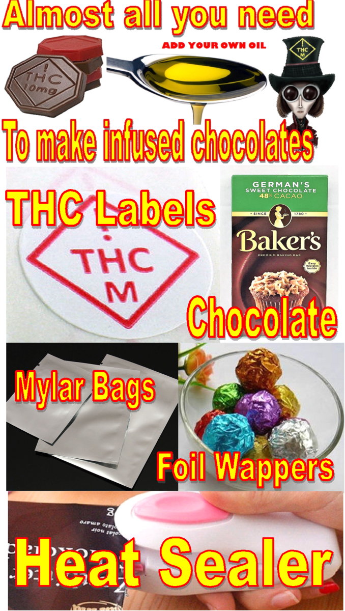 Marijuana / Pot / Cannabis candy chocolate wafer mold - Medical Marijuana THC safety symbol